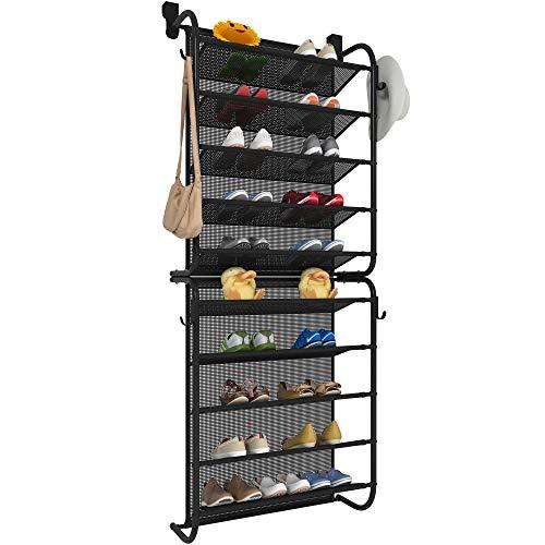 TZAMLI Zapatero sobre la puerta con 10 niveles, zapatero de metal, organizador de zapatos para Closet Pantry (negro, 56 x 21 x 151 cm)