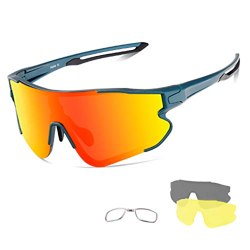 OULIQI Radbrille Polarisierte Sportbrille Fahrradbrille mit UV-Schutz 3 Wechselgläser für Herren Damen, für Outdooraktivitäten wie Radfahren Laufen Klettern Autofahren Angeln Golf (Blauer Sand)