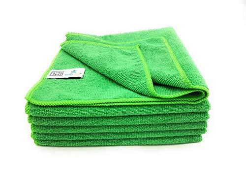 SellerKing® 6 Mikrofasertücher Küche grün. Fusselfrei, saugstark und schnell trocknend. Verstärkte gekettelte Ränder. 40x40 cm