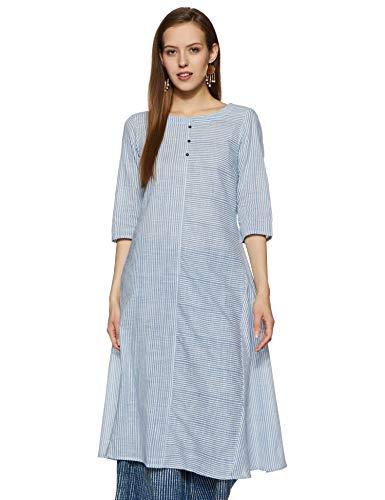 Rangmanch by Pantaloons Women's cotton a-line Kurta (110050215_ Blue_ Medium)