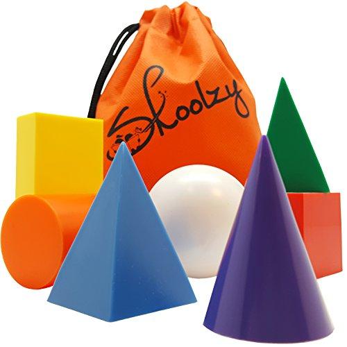 Skoolzy Geometric Shapes Montessori Toys - 7 Jumbo 3D Geometric Solids Preschool Learning Toys - Math Manipulatives Geometry Set Geo Blocks for Kids | Elementary Homeschool Supplies | Tote & eBook