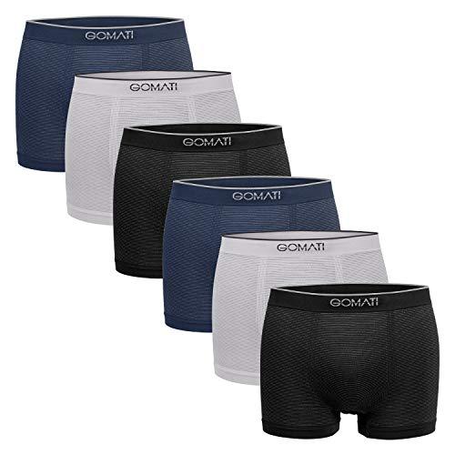 Gomati Herren Seamless Pants (6er Pack), Nahtlose Boxershorts aus Microfaser-Elasthan - Mix L-XL