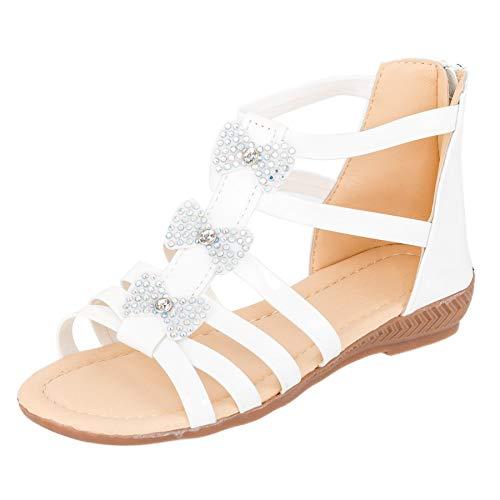 Modische Mädchen Sandalen Sandaletten Kinder Schuhe Lackoptik mit Reißverschluss M542ws Weiß 32 EU