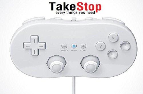 takestop® Controller Classic Joystick Joypad Compatibile per Nintendo Wii Bianco