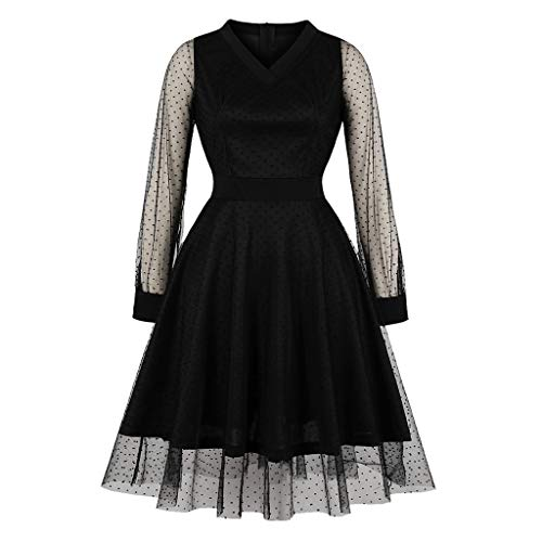 Best Buy! Hunauoo Deals Women Cocktail Dress Vintage Chic Lace Full Sleeves V-Neck A-Line Mini Dress...