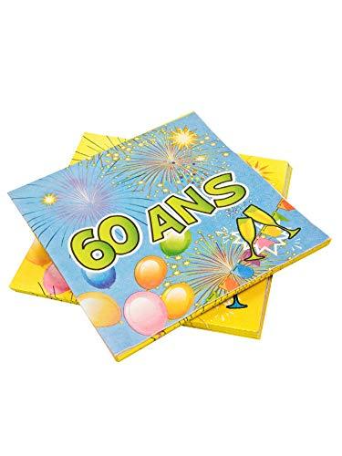COOLMP - Set di 12 tovaglioli di carta per 60 anni di compleanno Fiesta 33 cm, taglia unica, decorazione per feste, animazione, compleanno, matrimonio, eventi, giocattoli, palloni