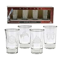 Vikings Shot Glass Set of 4 - Glasses With The History Channel TV Show Logo Designs