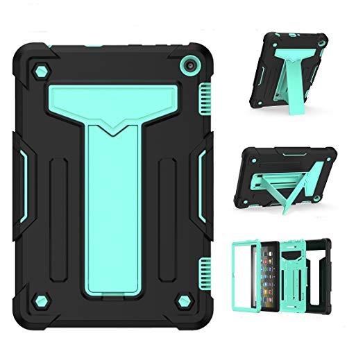 YANTAIAN Caja Protectora de la Tableta Forma de T Soporte de Contraste de Color a Prueba de Golpes PC Silicone (Color : Black+Mint Geen)