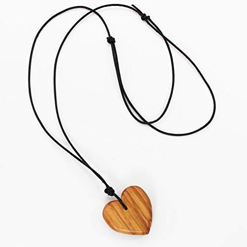 Collar de corazón de madera con cordón de piel, joya para mujer, cadena con colgante de corazón, regalo