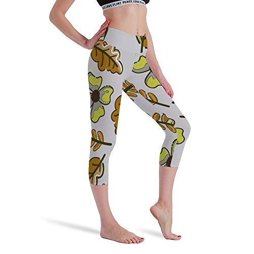 DKISEE Vrouwen Hoge Taille Zeven Punten Yoga Broek Verdorde Bloemen Gedrukte Sportbroek Leggings Hardlopen Gym Sweatpants voor Vrouwen