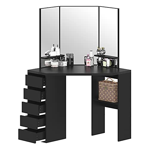 Bespivet Makeup Desk Vanity Table with 3 Mirrors and 5 Drawers Corner Dressing Table Storage Cabinet for Girls Bedroom (Black)…