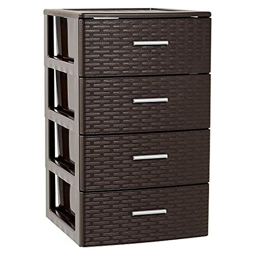 Plastic Forte - Cajonera de ordenación con 4 cajones de plástico efecto mimbre 61,5 x 39,5 x 36,5 cm. Torre de almacenaje multiusos, organizador auxiliar, almacenamiento, baño (4 cajones, Wengue)