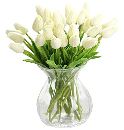 Demarkt Tulpe künstliche Blumen Real Touch Kunstblumen Tulip Tulpe künstliches Tulpenbündel Kunstblumen Blumenstrauß Brautschmuck Hochzeit Home Party Dekoration (Weiß)