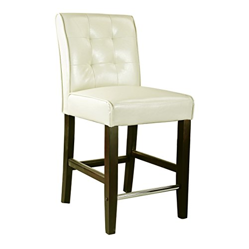 CorLiving Antonio Counter Height Barstool in Cream White Bonded Leather, 25-Inch