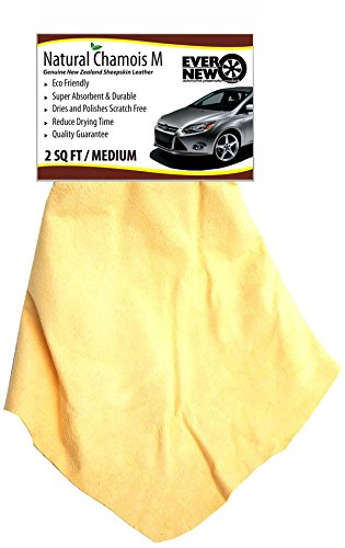 Natural Chamois M (2 sq ft.) Medium Size by Ever New Automotive Premium New Zealand Sheepskin! Fast Drying! for Auto, Boats, RV and Home! Chamois is Long Lasting and Super Absorbent!