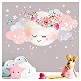 Little Deco Wandsticker Mond & Wolken I Weiß/Rosa M - 40 x