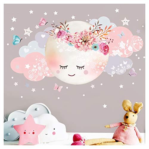 Little Deco Wandsticker Mond & Wolken I Weiß/Rosa M - 40 x 20 cm (BxH) I Kinderzimmer Wandtattoo Mädchen Baby Deko Zimmer DL246-1-M
