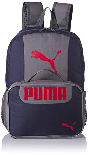 PUMA Big Kid's Lunch Box Backpack Combo, Navy/Red, Youth Size