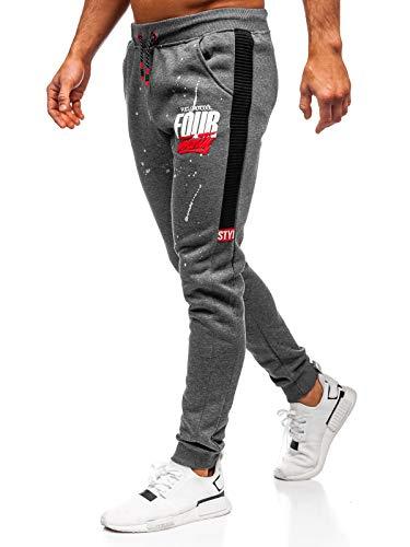 BOLF Herren Jogginghose Sporthose Trainingshose Jogger Sweathose Fitnesshose Jogpants Fußballhose Sweatpants Motiv Print Army Baumwolle Slim Fit J.Style AM033 Dunkelgrau L [6F6]