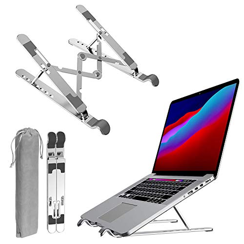 Soporte para portátil de aleación de aluminio, ajustable, plegable, portátil, portátil, con función de protección de muñeca y diseño ergonómico para portátiles y tabletas de 7 a 15,6 pulgadas (tipo A)