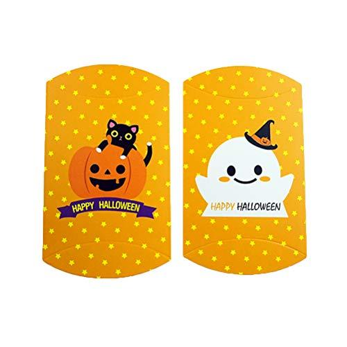 Abaodam 20 cajas de papel de Halloween temáticas bolsa de galletas DIY caja de regalo turrón cajas suministros para dulces pasteles caramelo caramelo