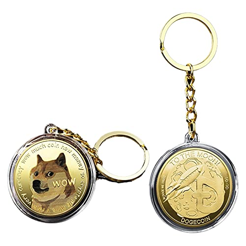 Dogecoin Coins Schlüsselanhänger Shiba Inu Hund Meme Much Wow, B, Small