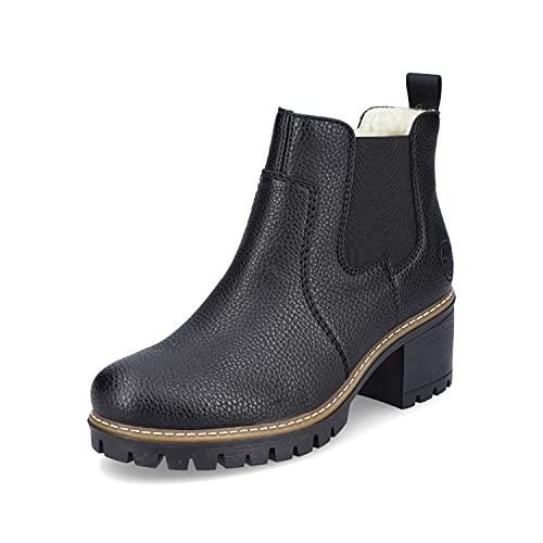 Rieker Damen Chelsea Boots Y8650, Frauen Stiefeletten,Schlupfstiefel,Women's,Woman,Lady,Ladies,Boots,Stiefel,Bootee,Booties,schwarz (00),38 EU / 5 UK