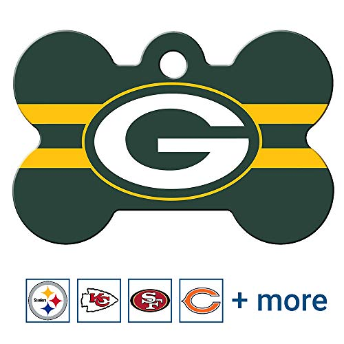 GoTags Green Bay Packers NFL Personalized Engraved Sports Team Pet Tag, Bone Shape Dog Tag
