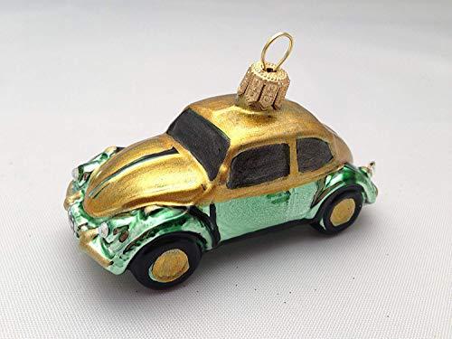 Unbekannt Auto Käfer Beetle Grün Gold Glas Weihnachtsschmuck Weihnachtsdeko Hänger Weihnachten Christbaumschmuck Mann Geschenk