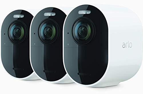ArloUltra2 Spotlight WLAN Überwachungskamera   Kabellos, Innen / Aussen, 4K Video & HDR   Nachtsicht in Farbe, Bewegungsmelder, 6Monate Akku, 2-Wege-Audio, 180° Blickwinkel   VMS5340   Weiß
