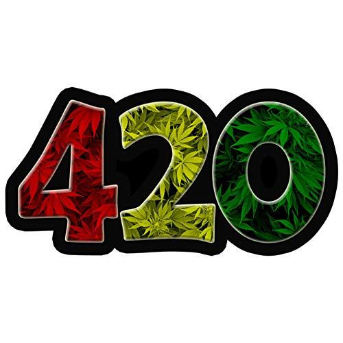 Pegatinas para coche, 2 unidades, 420 hojas de malas hierbas, con diseño de hojas de marihuana, 13,5 x 6,9 cm