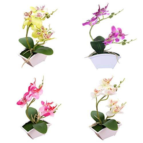 Amuzocity 4X Seide Künstliche Orchidee Bonsai Blume Topfpflanzen Tischdekoration