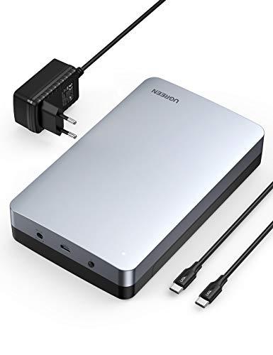 UGREEN Carcasa Disco Duro 3,5', Caja Disco Duro 3,5' USB C con UASP para HDD SSD SATA I/II/III, 16 TB MAX, Comaptible con PC, TV, Macbook, DELL XPS 15, con Cable USB C y Adaptador de Corriente 12V