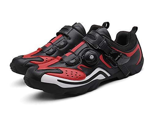 Scarpe da Ciclismo Senza Lucchetto Scarpe con Pedalata Assistita per Bici da Strada Scarpe da Ginnastica Traspiranti per Mountain Bike (46,Rosso)