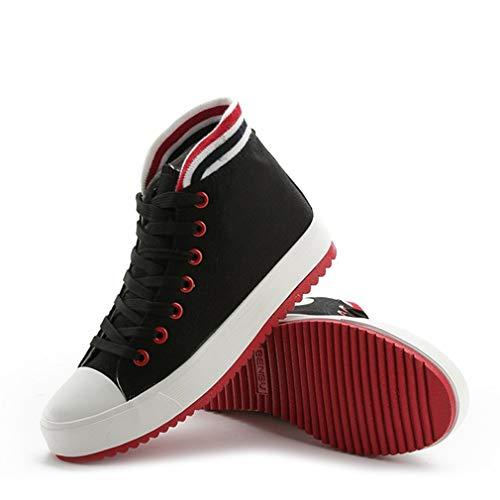 Zapatos de lona de la parte superior, delgada, movimiento de la parte inferior, zapatos de tela a rayas de color casual mujer zapatos de color puro, todos a juego con cordones para mujer, negro, 36