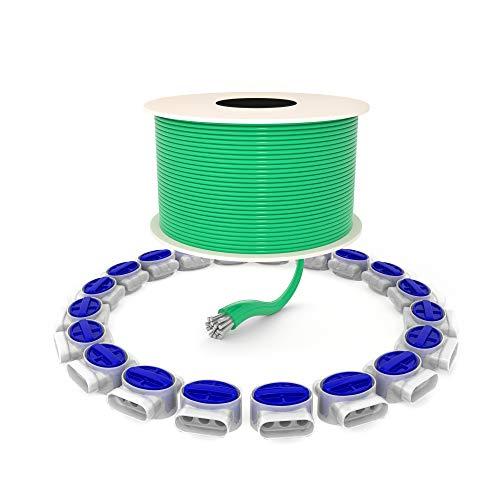 kanoo® Mähroboter Zubehör-Set mit 1 m Begrenzungskabel + 20x Kabelverbinder – praktisches Reparatur-Set fürs Verlegen und Reparieren von Begrenzungsdraht für Mähroboter aller gängigen Marken