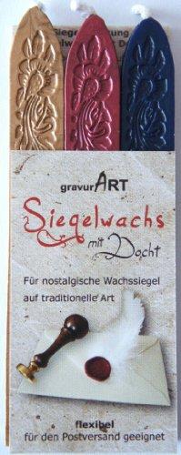 gravurART - flexibles Siegelwachs mit Docht in gold, 3 Stangen Farben gold, metallic-rot, dunkelblau