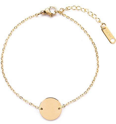 Happiness Boutique Damen Kreis Armband in Goldfarbe | Armband mit Plättchen Rund Disk Geometrischer Schmuck