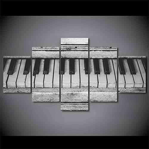 GIAOGE canvas schilderkunst wooncultuur poster 5 panelen oud muziekinstrument piano voor de woonkamer gedrukt moderne Hd fotolijst mit gerahmten 20x35 20x45 20x55 cm