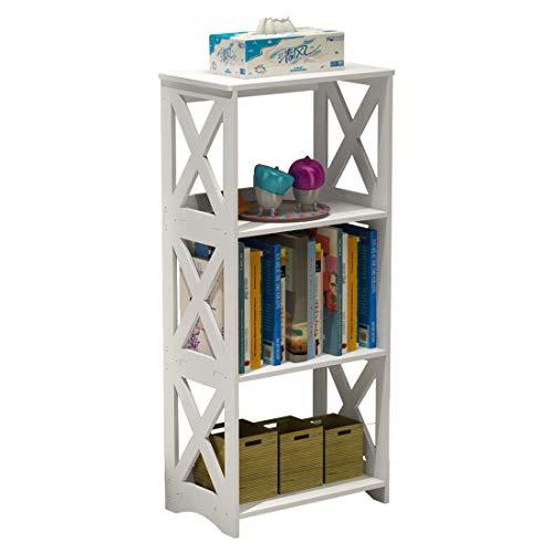 Rerii Bookcase 3 Tier Small Bookshelf Kids Open Shelves Standing Book Storage Case Shelf Display Rack Table for Bathroom Living Room Bedroom Office White