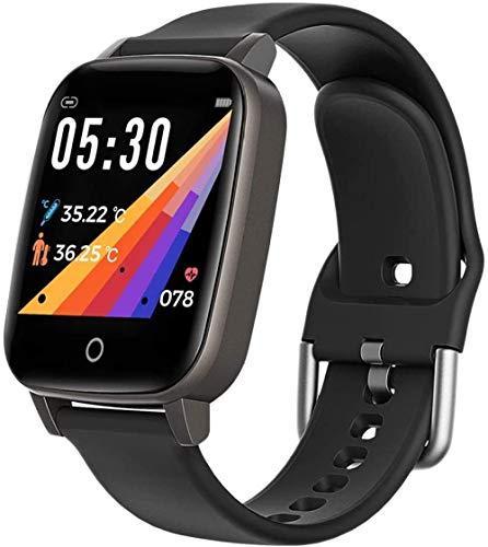 Reloj inteligente con medición de la temperatura corporal, monitor de actividad física, frecuencia auditiva, monitor de presión arterial para Android IOS negro