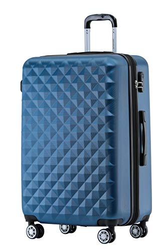 BEIBYE Zwillingsrollen 2066 Hartschale Trolley Koffer Reisekoffer Gepäck M-L-XL-Set (Blau, XL)