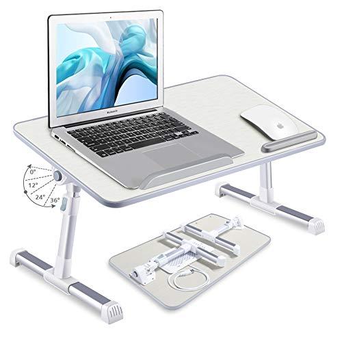 LEYONA - Soporte ajustable para ordenador portátil, portátil, portátil, con patas plegables, para leer y escribir, bandeja para comer en la cama, sofá o suelo (con 1 ventiladores)