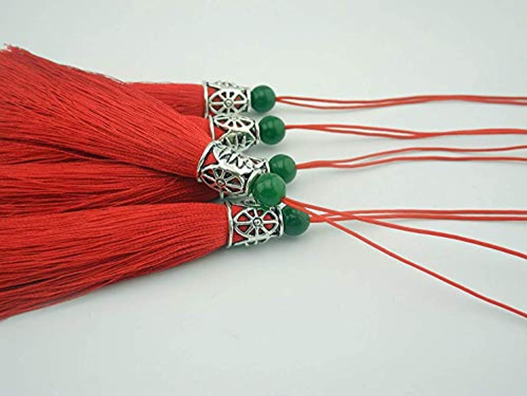 10pcs 3.6''(9.0cm) Soft Silk Tassels for Jewelry with Hollowed Antique Silver Cap and Jade Beads (Red)