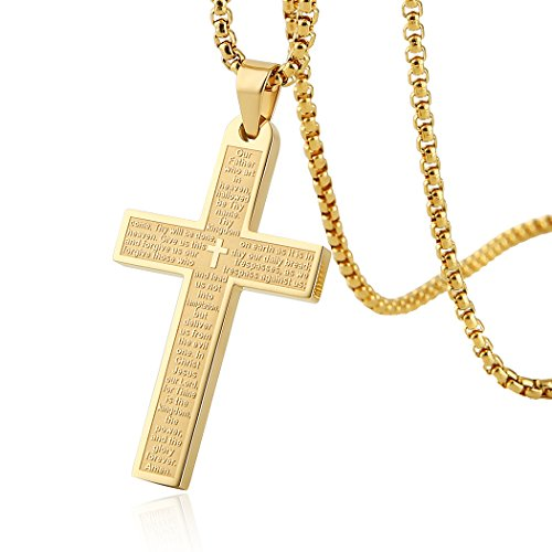 HZMAN Stainless Steel Mens Womens Cross Necklace Lord's Prayer Pendant, 3 Colors Available Gold