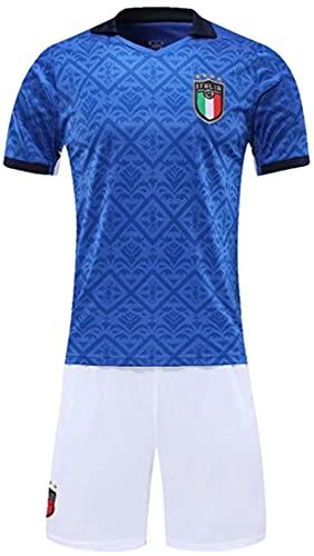 MINIDORA FIGC Italia Maglie da Calcio 2021 UEFA Euro Uomo Tute da Calcio per Tifosi da Ginnastica Completo 2 Pezzi da Calcio Nazionale Calcio Maglia T-Shirt e Pantaloni M(165-170cm,Nessun Numero