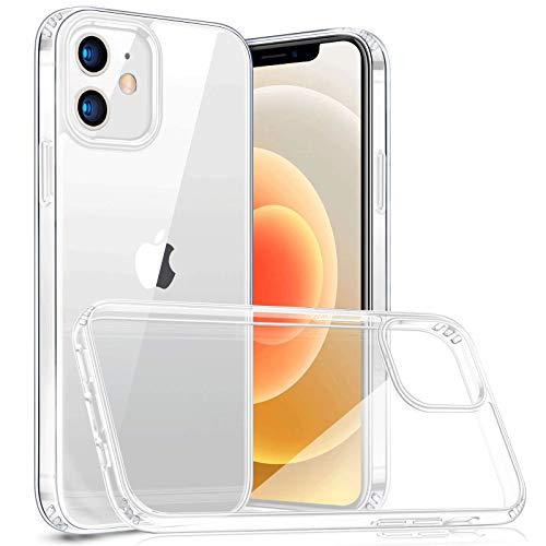 Naviurway iphone12 mini ケース 5.4インチ用 クリア ガラス背面 TPUバンパー 硬度9H 黄変防止 耐衝撃