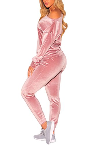 VamJump Womens Velvet Off One Shoulder Long Sleeve Sweatshirts Jogger 2 Piece Sweatsuits M Pink