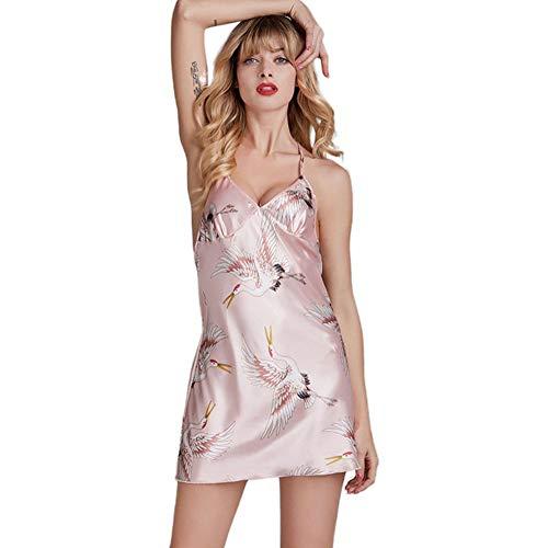 LGLE Pijama De Mujer Verano Seda Sexy GrúA CamisóN Tirantes Servicio A Domicilio,M
