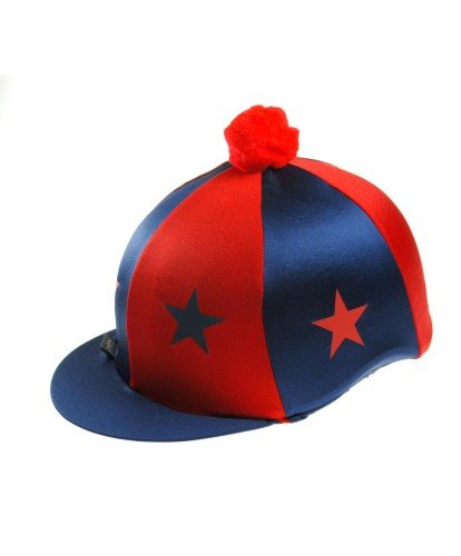 CAPZ - Gorro de equitación, diseño de Estrellas, Color Azul y Rojo